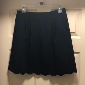 Loft Scalloped Skirt- Navy